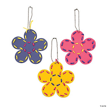 Flower-Shaped Lacing Key Chain Craft Kit