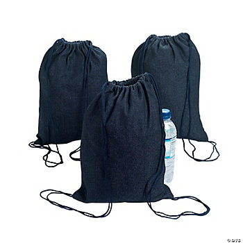 Denim Drawstring Backpacks