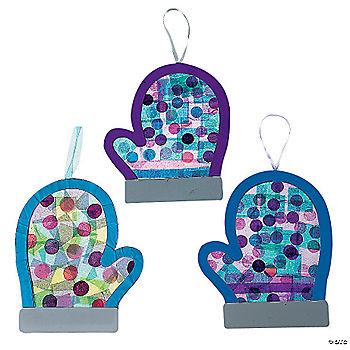 Mitten decorated with Tissue  glitter and Cotton ballsMitten Crafts For Preschoolers