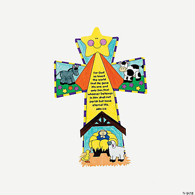 Card Stock Color Your Own Nativity Crosses