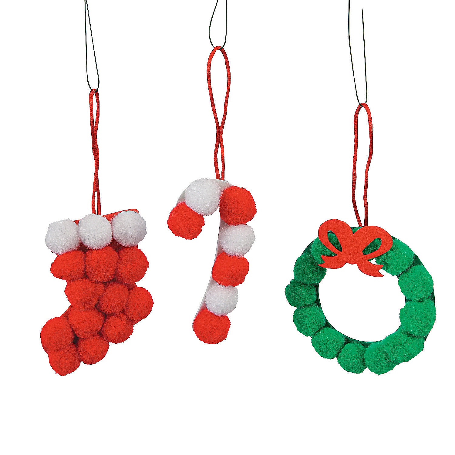Pom-Pom Christmas Ornament Craft Kit - Oriental Trading
