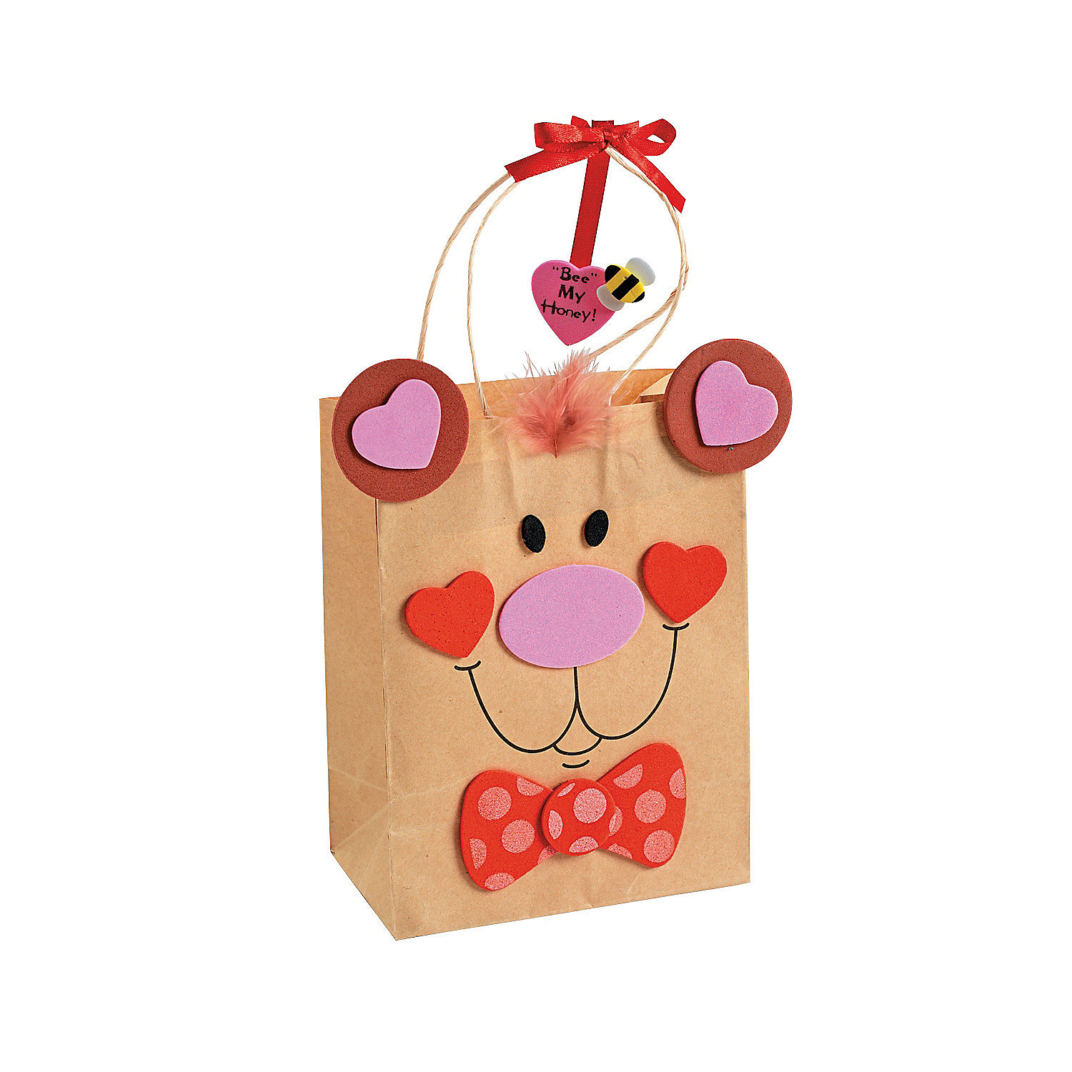 Valentine bear gift bag craft kit oriental trading for Craft paper gift bags
