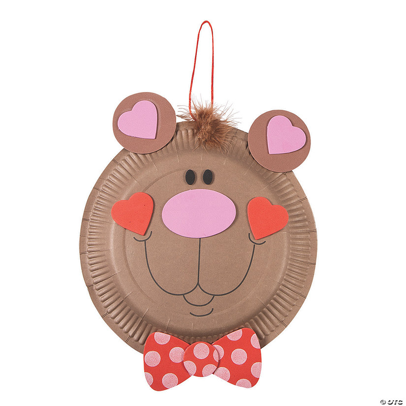 sc 1 st  Oriental Trading & Paper Plate Valentine Bear Craft Kit