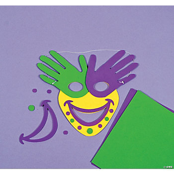 Handprint mardi gras mask craft kit oriental trading for Mardi gras masks crafts