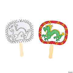 12 Color Your Own Chinese Dragon Fans