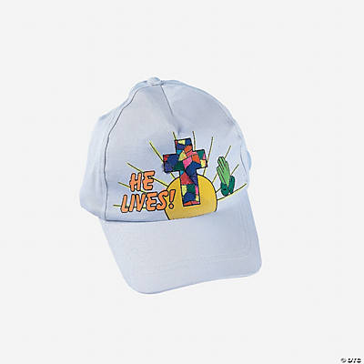 "Color Your Own ""He Lives"" Baseball Caps"