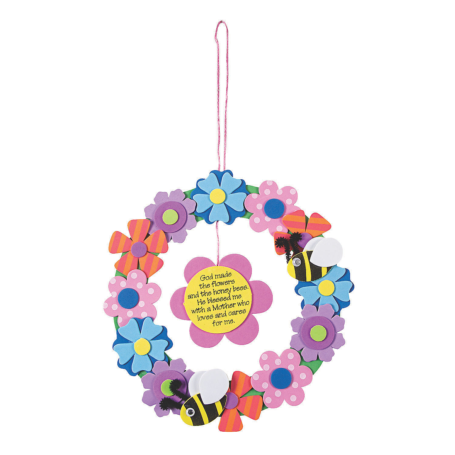 Flower wreath for mom craft kit oriental trading for Mother s day craft kits