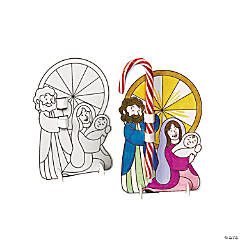Color Your Own Holy Family Candy Cane Holders