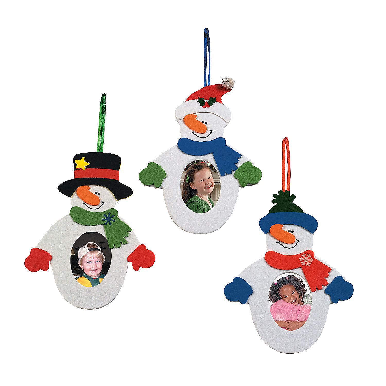 Snowman picture frame ornament craft kit oriental trading for Photo frame ornament craft