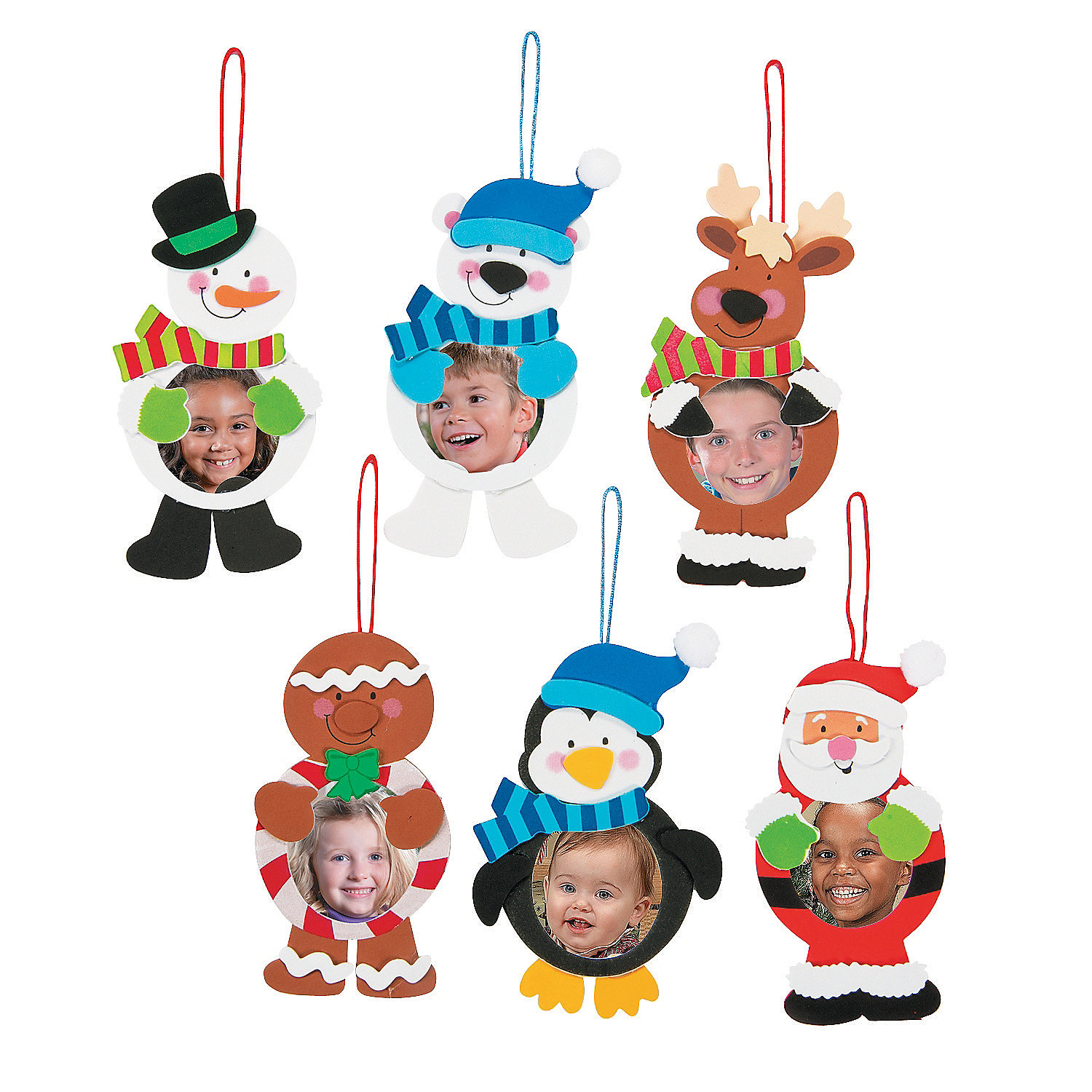 Christmas character picture frame ornament craft kit for Photo frame ornament craft