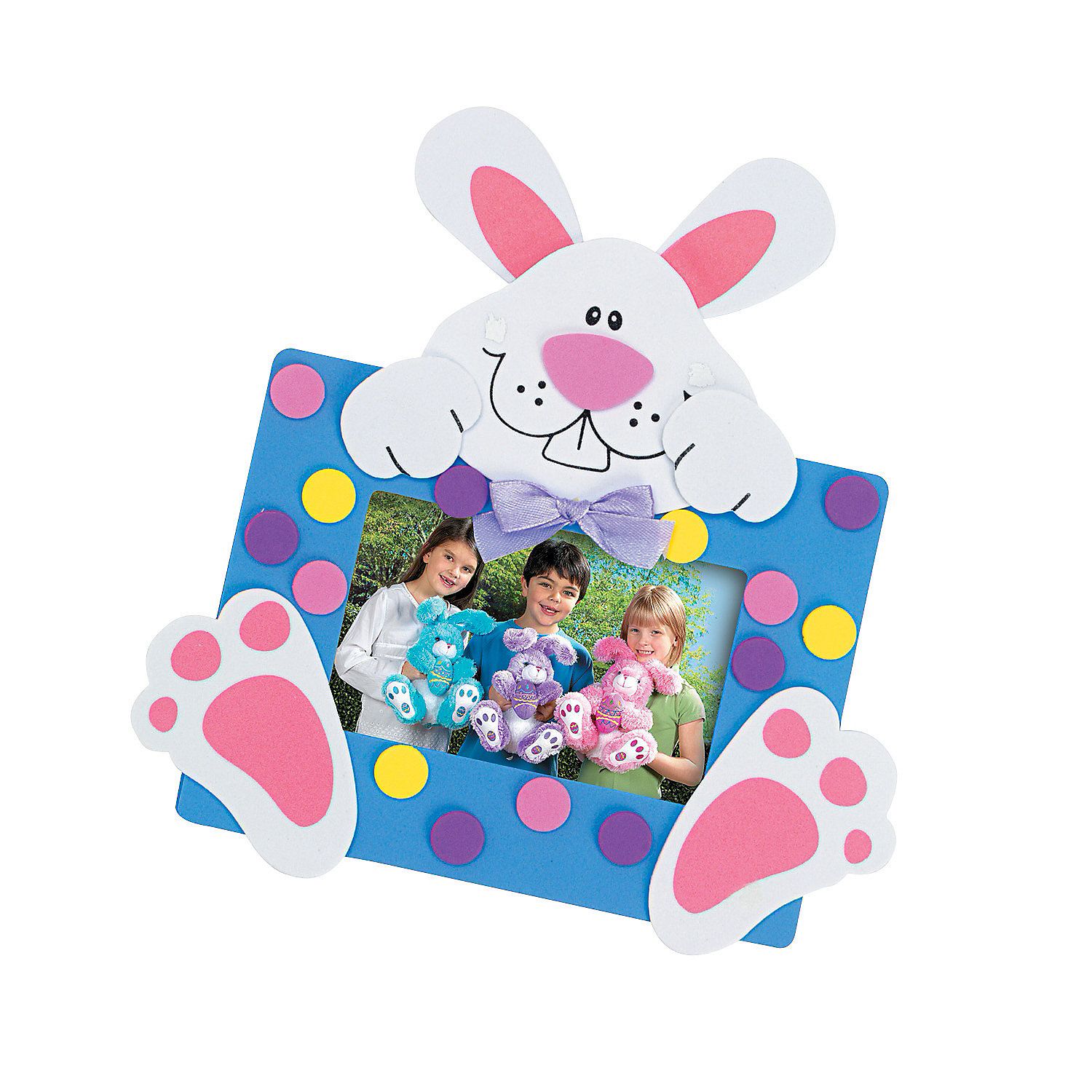 Easter bunny picture frame magnet craft kit oriental trading for Picture frames for crafts