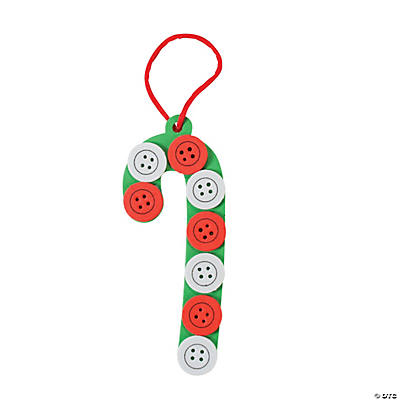 Button Candy Cane Christmas Ornament Craft Kit