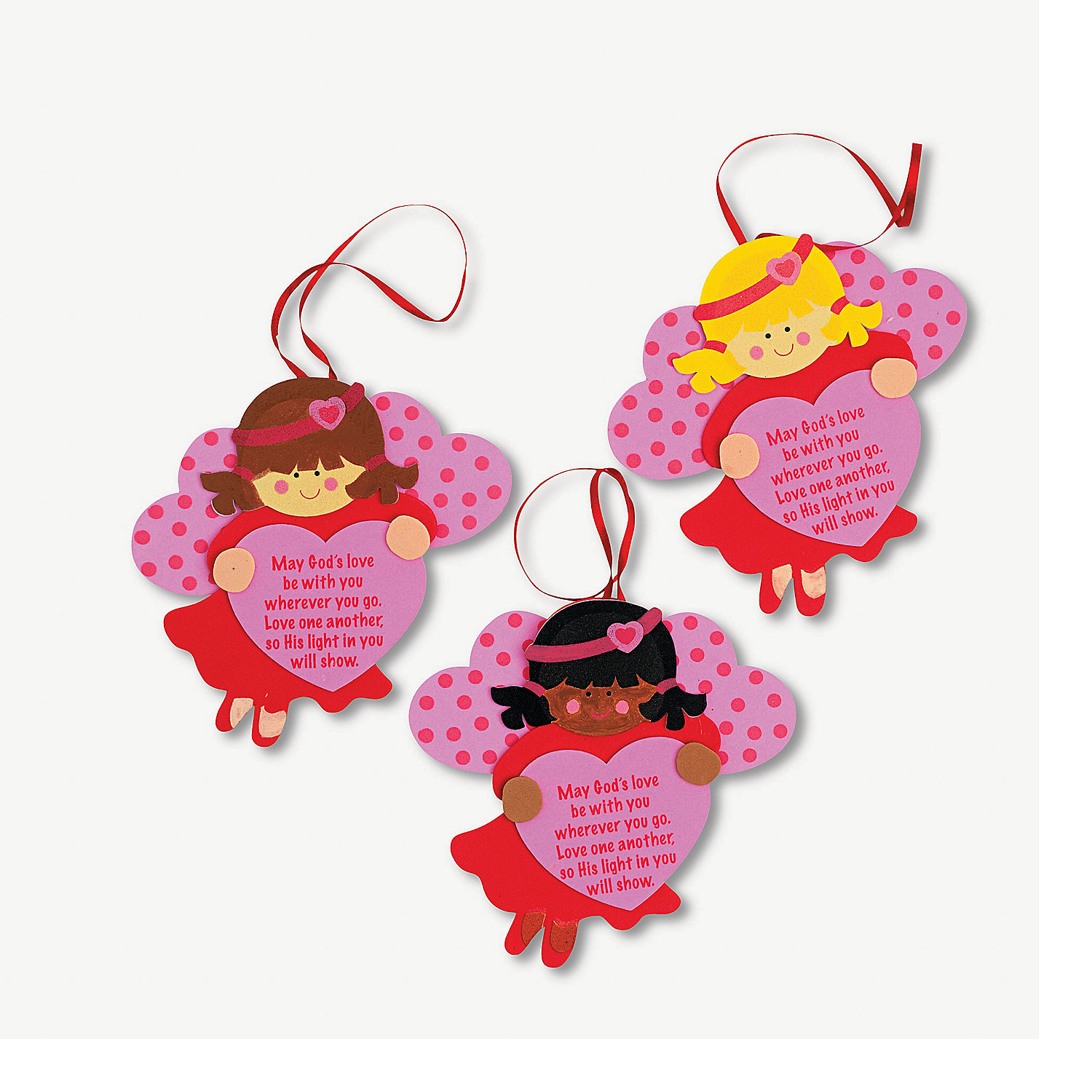 Inspirational valentine angel ornament craft kit for Inspirational valentine crafts