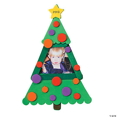 Craft Stick Christmas Tree Picture Frame Magnet Craft Kit