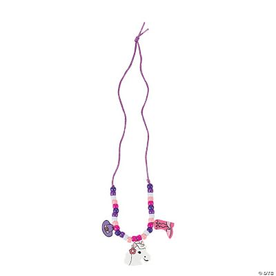 Pink Cowgirl Wood Necklace Craft Kit