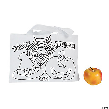 "Color Your Own Halloween Friend ""Trick-Or-Treat"" Tote Bags"