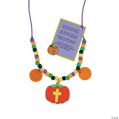 Christian Pumpkin Beaded Reflector Necklace Craft Kit