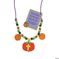 Christian Pumpkin Beaded Reflector Necklace Craft Kit
