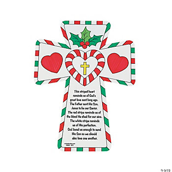 Color Your Own! Cutout Candy Cane Crosses
