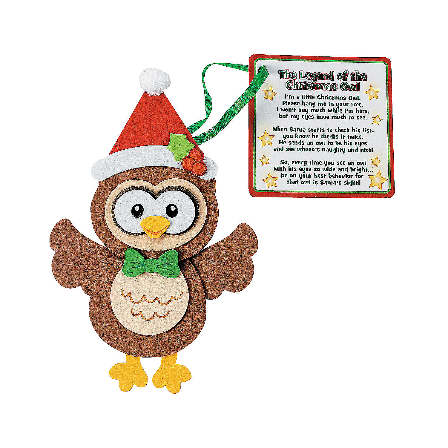 Legend Of The Christmas Tree Poem: Owl Christmas Ornament With Poem Craft Kit