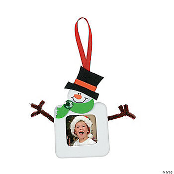 Square snowman picture frame christmas ornament craft kit for Photo frame ornament craft