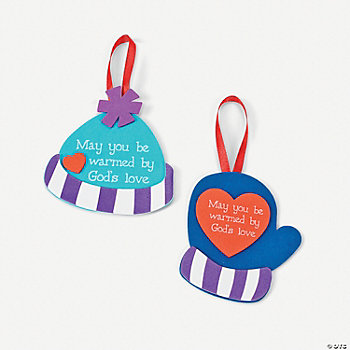 """May You Be Warmed By God's Love"" Mitten & Hat Ornament Craft Kit"