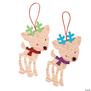 Wood Grain Christmas Reindeer Ornament Craft Kit