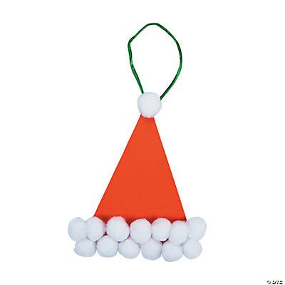 Pom-Pom Santa Hat Christmas Ornament Craft Kit