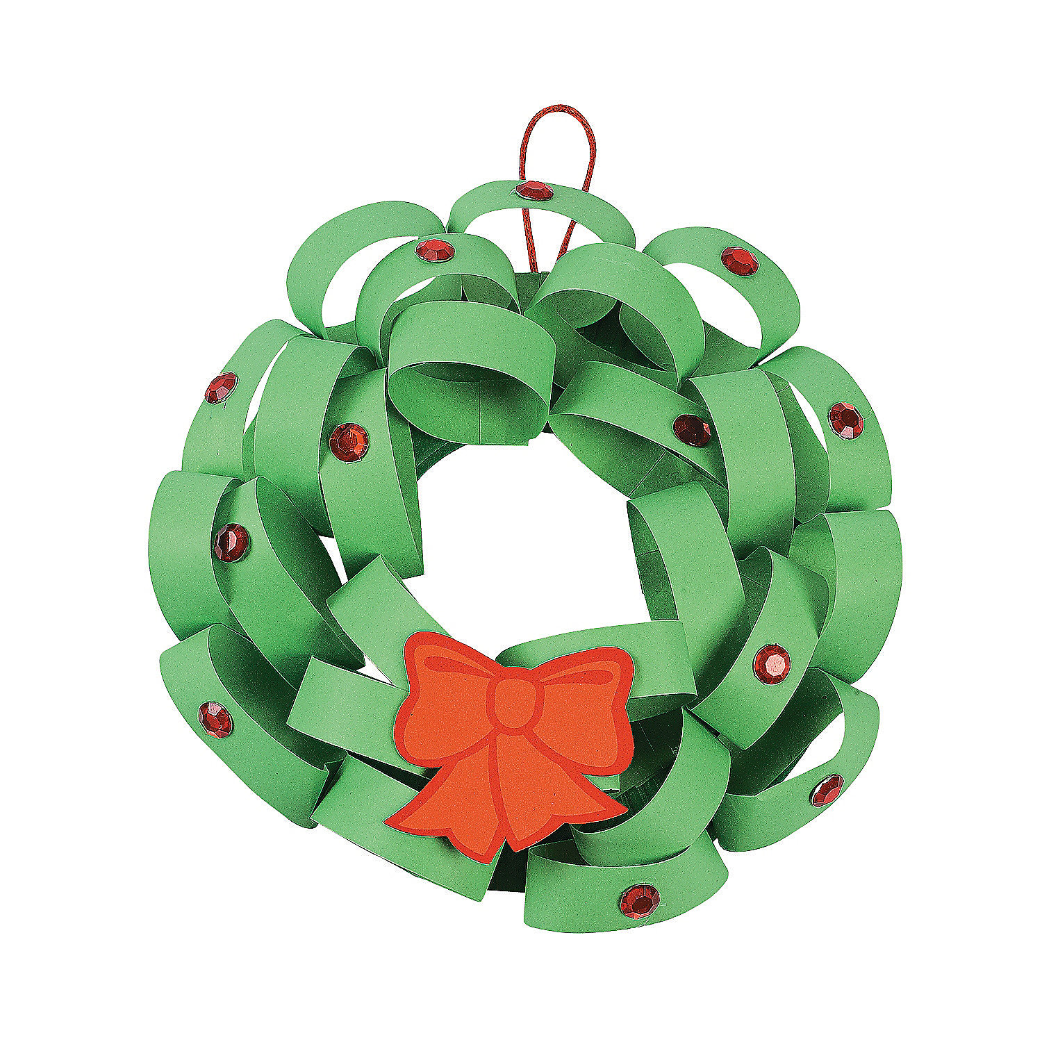 Loopy christmas wreath craft kit oriental trading for Christmas crafts made out of paper plates