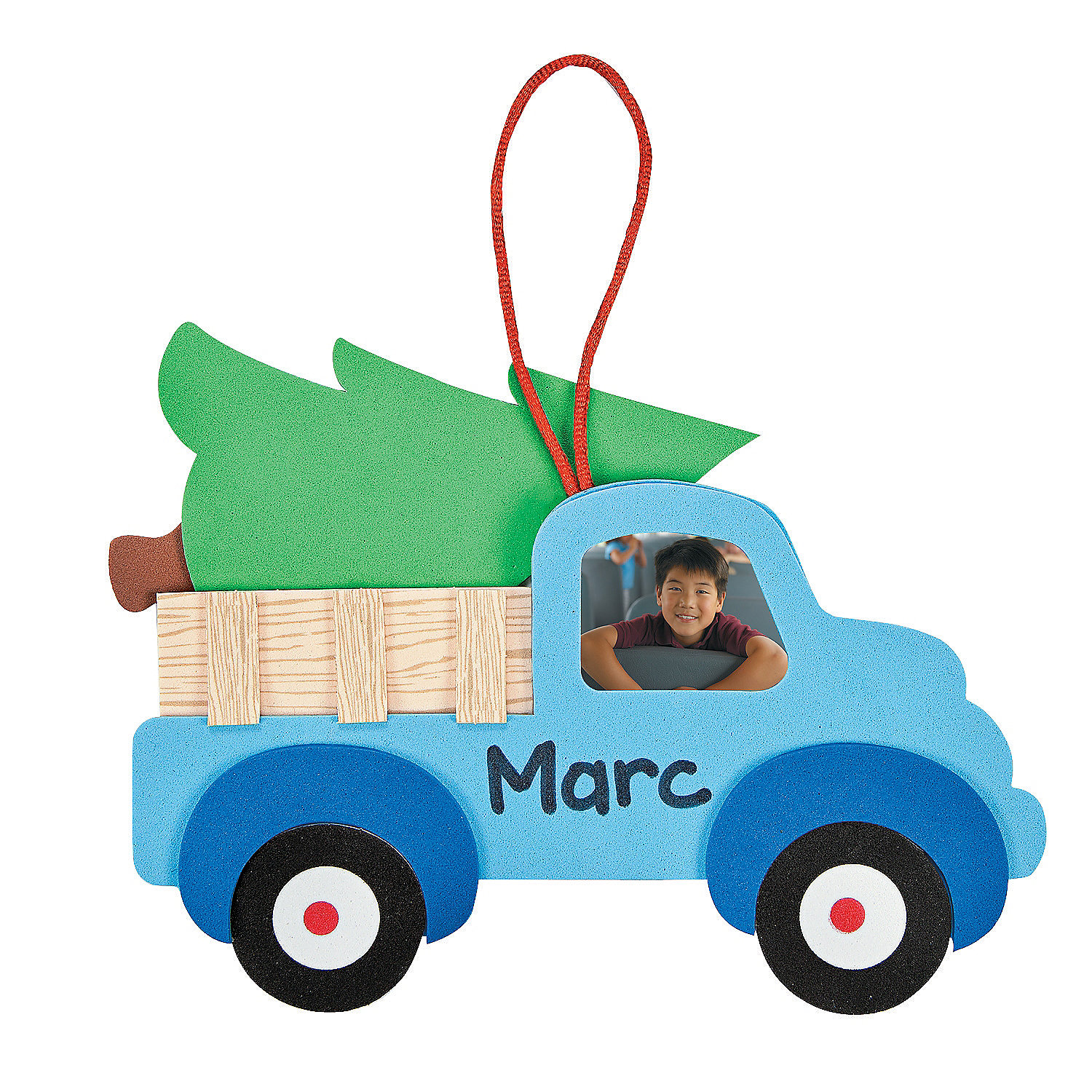 Christmas tree truck picture frame ornament craft kit for Photo frame ornament craft