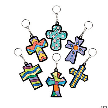 Color Your Own Cross Chipboard Key Chains