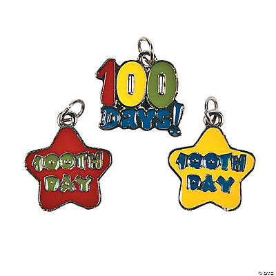 """100th Day of School"" Enamel Charms"