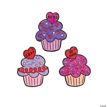 Color Your Own Valentine Cupcake Magnets