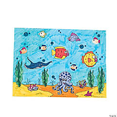 Color Your Own Thumbprint Tropical Fish Scenes