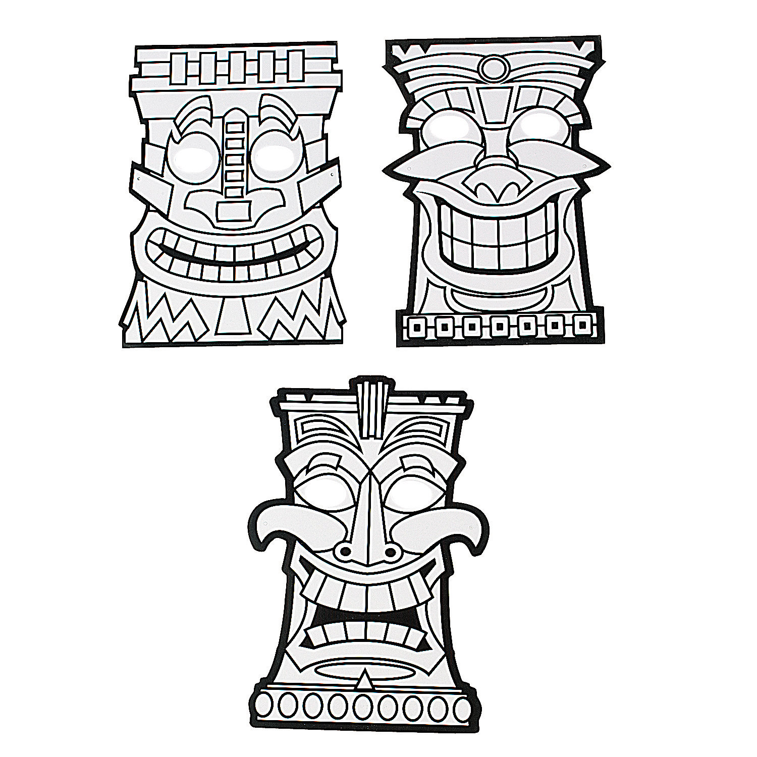 Color Your Own Tiki Masks Oriental Trading Tiki Mask Coloring Pages
