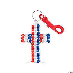 Patriotic Beaded Cross Key Chain Clips