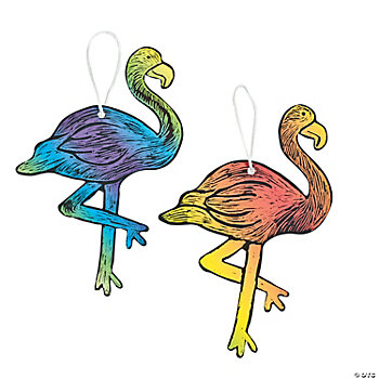 Magic Color Scratch Flamingo Ornaments