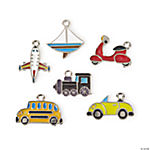 Transportation Enamel Charms