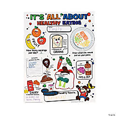 "Color Your Own ""It's All About Healthy Eating"" Posters"