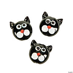 Black Cat Head Lampwork Beads - 16mm