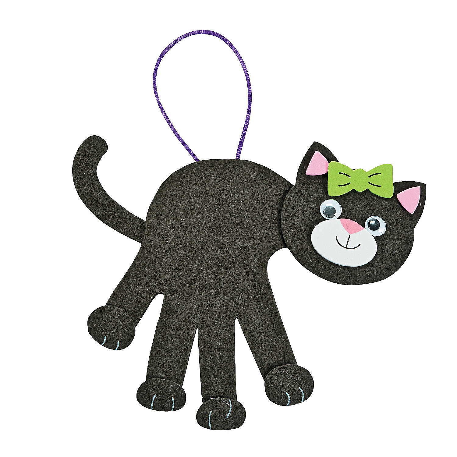 Black cat handprint craft kit oriental trading for Cat crafts for toddlers