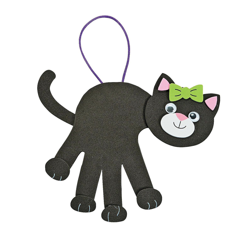 Black cat handprint craft kit oriental trading for Cat art and craft