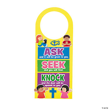 """Ask, Seek, Knock"" Doorknob Hangers"