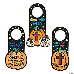 Color Your Own Fuzzy Christian Pumpkin Doorknob Hangers