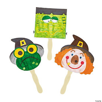 Color Your Own Halloween Puppets