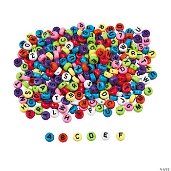 Multicolor Alphabet Round Beads