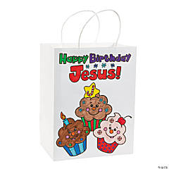 "Color Your Own ""Happy Birthday Jesus!"" Cupcake Bags"