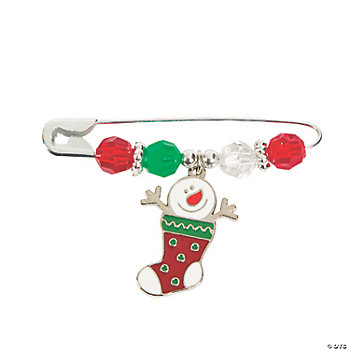 Snowman Stocking Beaded Charm Pin Craft Kit
