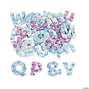 Winter Self-Adhesive Chipboard Printed Alphabets