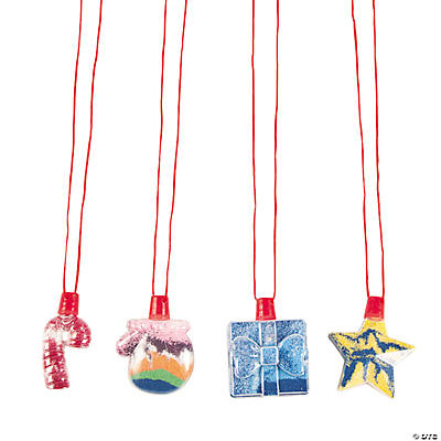 Christmas Ornament Sand Art Bottle Necklaces